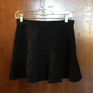 Black Lace Mini Skater Skirt